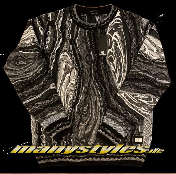 Carlo Colucci Sweater Strickpullover Gold Collection exclusive Black White Winter Season
