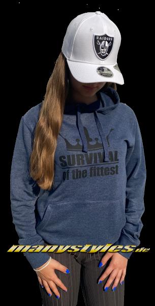 manystyles Survival of the Fittest Crown exclusive Hooded Sweatshirt mit Kapuze in Heather Denim Dark Black von Sol Back Real Rückseite Front Fine
