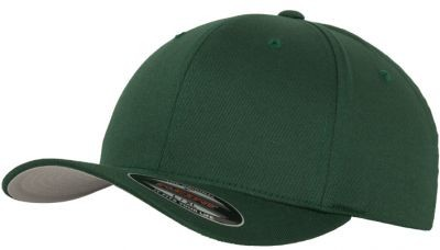 Blank Flex Fit Curved Visor Cap Spruce Green