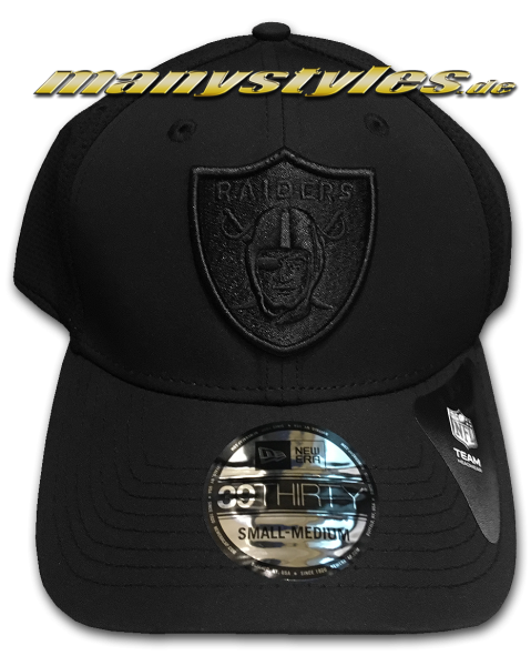 Oakland Raiders (Las Vegas Raiders) NFL 39THIRTY Curved Visor 3930 Mesh Back Cap Black Black on Black von New Era