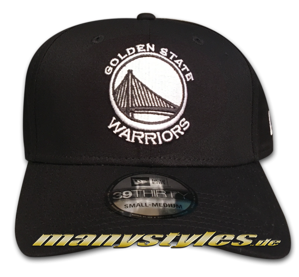 Golden State Warriors NBA 39THIRTY Cuved Visor Strech Flex Fit Cap Black White Monochrome von New Era