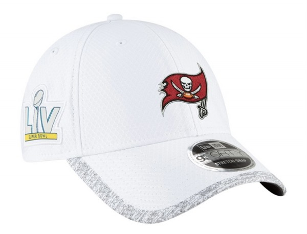 Tampa Bay Buccaneers NFL Superbowl SBLV 9FORTY Adjustable Curved Visor Cap White Grey von New era