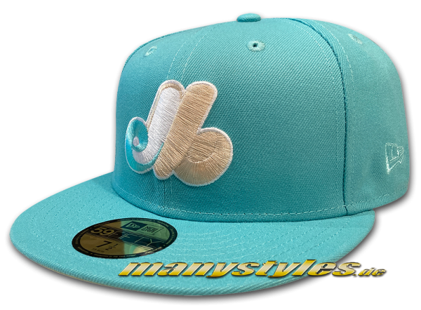 Montreal Expos MLB 59FIFTY manyStyles Pastell exclusive 18pcs ltd Miami Vice Mint Yellow von New Era Front