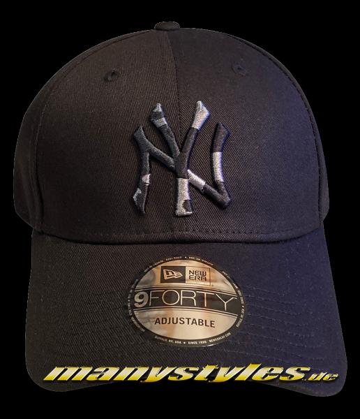 NY Yankees MLB 9FORTY Curved Visor Camo Infill Cap Black Camougflage von New Era