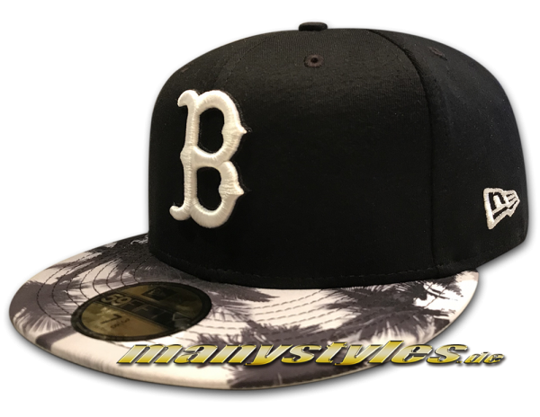 Boston Red Sox MLB 59FIFTY Cap Miami Vibe Tropical Palm Print Black White von New Era