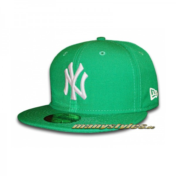 NY Yankees 59FIFTY MLB Basic Cap Kelly White - Green White