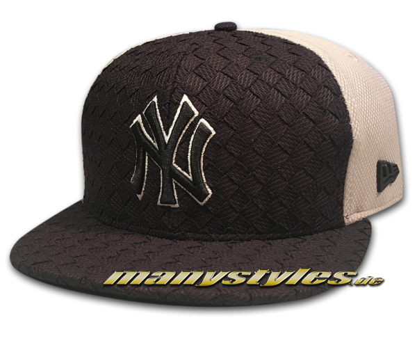 NY Yankees mlb new era 9fifty snapback cap fl woven front visor black white graphite grey  frontside