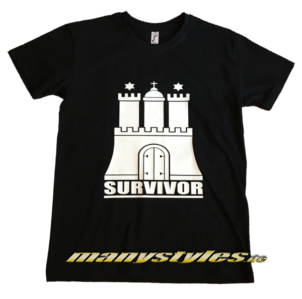 manystyles.de HH Hamburg Survivor exclusive T-Shirt Black White Front