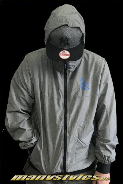 LA Dodgers MLB Nights Windbreaker Jacket Graphite Grey Heather Blue von New Era