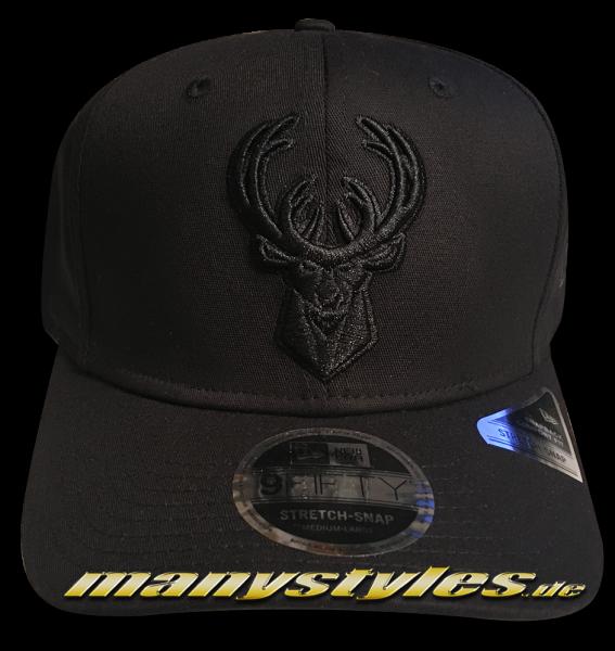 Milwaukee Bucks NBA 9FIFTY Stretch Snap Cap Black 950 SS Stretch Snapback Black on Black von New Era