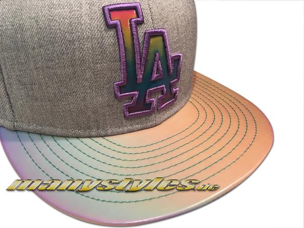 La Dodgers mlb 9fifty new era snapback cap multi slick visor heather grey chambray chambrak purple multicolor alternate view mc fly back to the future side