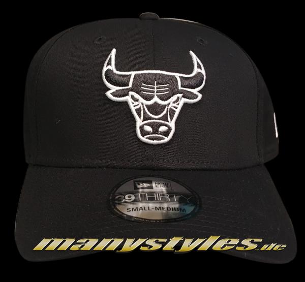 Chicago Bulls NBA 39THIRTY Cuved Visor Strech Flex Fit Cap Black White Monochrome von New Era