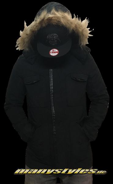 Urban Classics Zip Jacked Black mit Fell