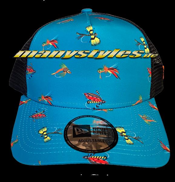 New Era Fishing 9FORTY Trucker AOP Snapback Cap Teal AFrame Curved von New Era