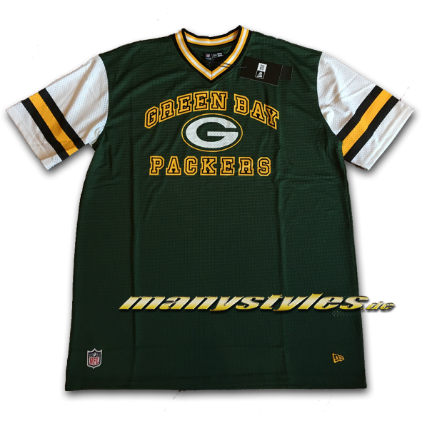 Greenbay Packers NFL Stripe Sleeve Oversized Jersey Mesh Tee von New Era