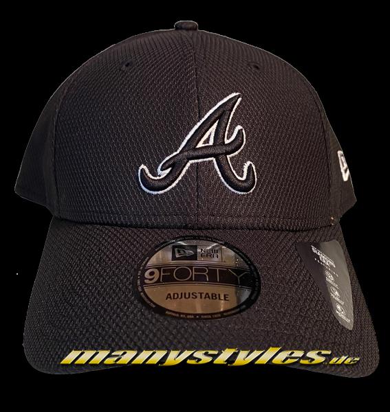 Atlanta Braves MLB 9FORTY Diamond Era Essentials Curved Visor Adjustable Cap Black White von New Era