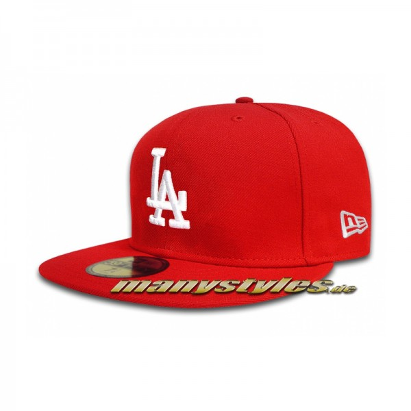 LA Dodgers 59FIFTY MLB Basic Cap Scarlet Red White