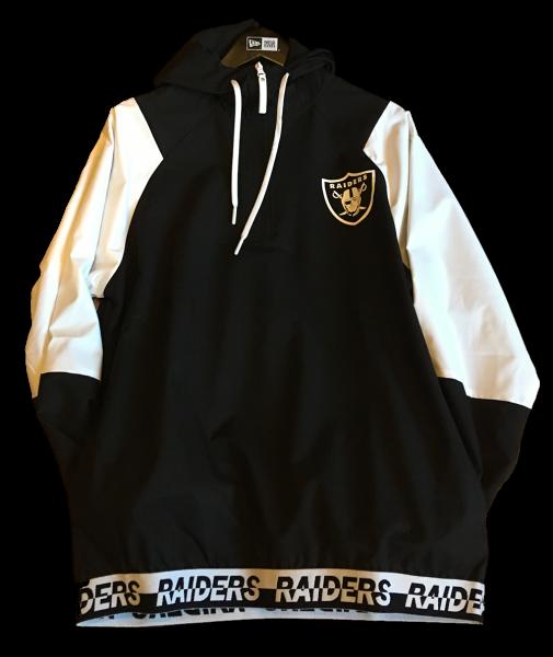 Oakland oder inzwischen Las Vegas Raiders NFL Windbreaker Zip Jacket Black White OTC von New Era