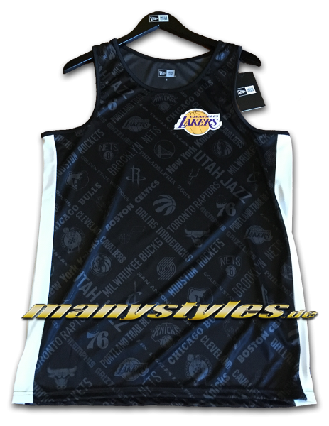 LA Lakers NBA AOP Tee Tank Top Black Graphite Grey von New Era
