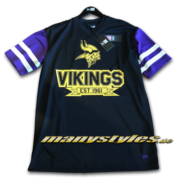 Minnessota Vikings NFL Contrast Sleeve OS Tee Black Yellow Team Color Meshed Jersey von New Era