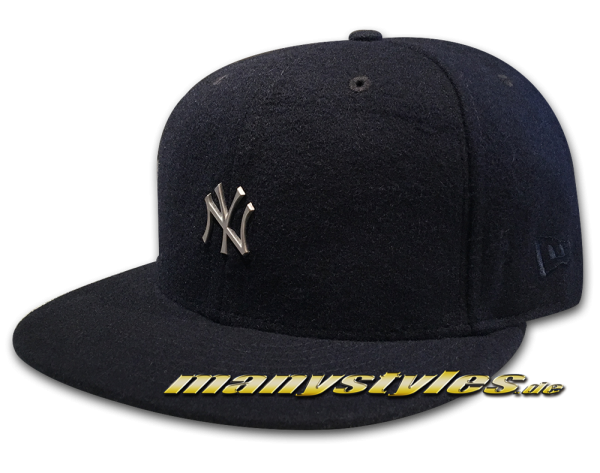 NY Yankees MLB 59FIFTY Melton Metal Mini Logo Navy Silver Metallic von New Era