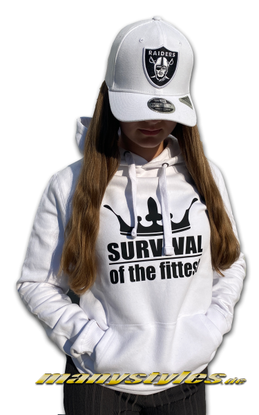 manystyles Survival of the Fittest Crown exclusive Hooded Sweatshirt mit Kapuze in Bright White Black Backview Rückseite Back Real