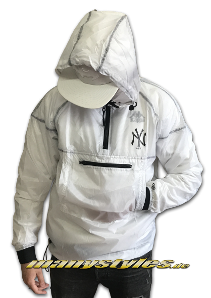 NY Yankees MLB Snow Stealth Smock Half Zip Windbreaker Jacket Transparent White Black von New Era
