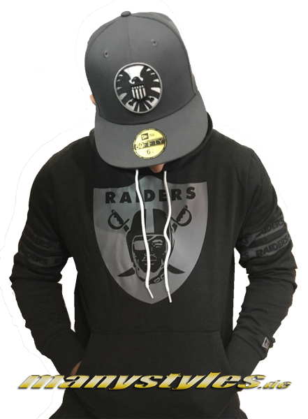 Oakland Raiders NFL Team Apparel Hooded Charcoal Heather Grey von New Era
