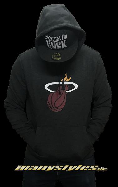 NBA Miami Heat Tip Off Hooded Sweatshirt Kapuzenpullover Pullover Dark Grey Red von New Era