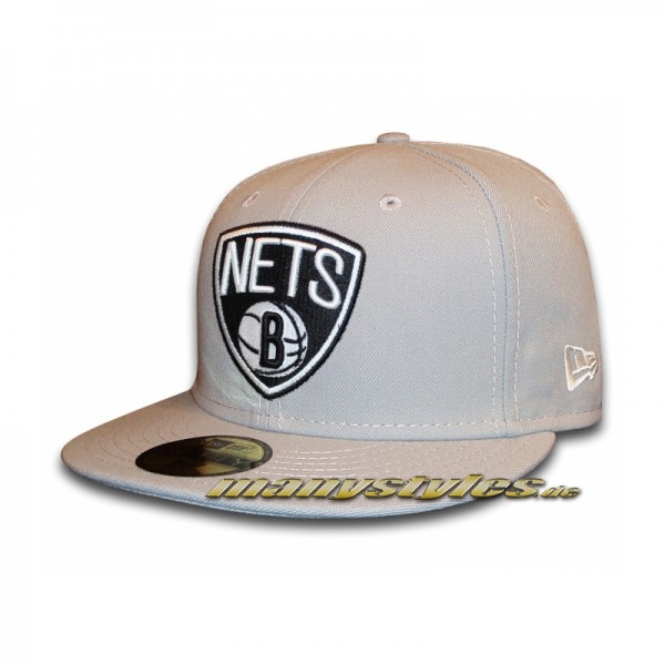 Brooklyn Nets 59FIFTY NBA Basic Primary Cap Grey Black White
