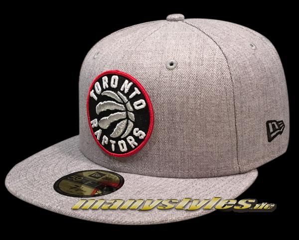 Toronto Raptors NBA Heather Team Fitted 59FIFTY Cap von New Era in Heather Grey OTC Original Team Color Logo frontside