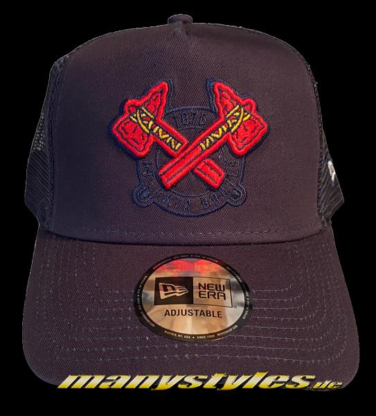 Atlanta Braves MLB 9FORTY MLB Team Elemental Trucker Cap Curved Visor Adjustable Cap Navy Red OTC von New era