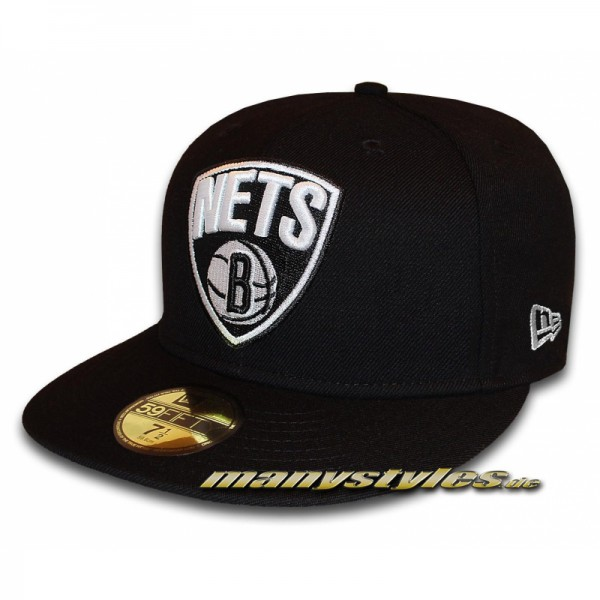 BROOKLYN NETS NBA 2nd Primary Cap Black White NBA Logo in Team Color