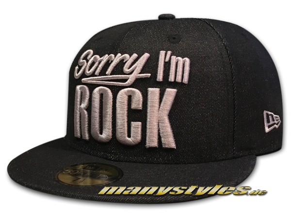 Sorry I am Rock Music Pack 59FIFTY Cap Denim Black Grey von New Era