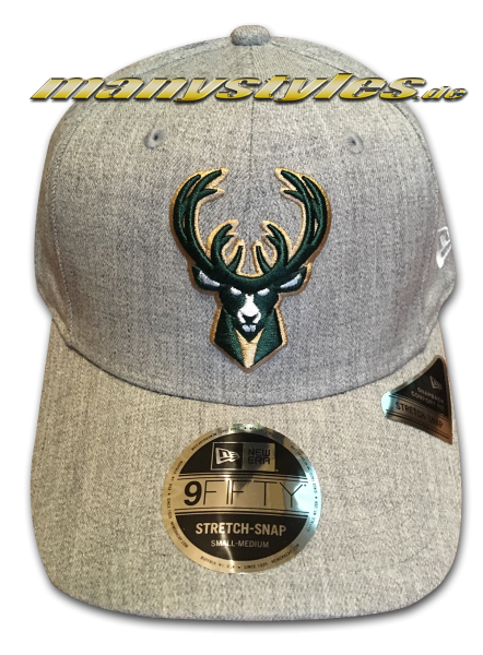 Milwaukee Bucks NBA 9FIFTY Heather Base Stretch Snapback Cap 950 SS Stretch Snapback Heather Grey Green OTC von New Era