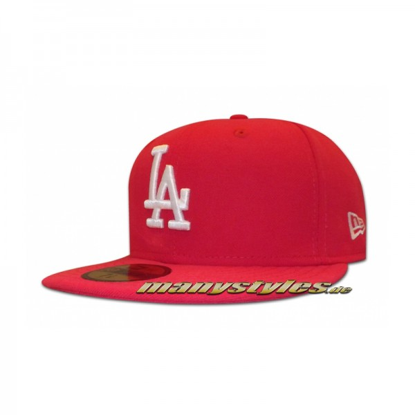 LA Dodgers 59FIFTY MLB Basic exclusive Cap Bright Rose White Pink White