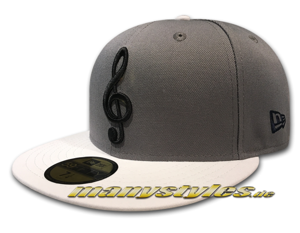 New Era Unlicensed 59FIFTY Fitted Cap Music Note Storm Grey Black Navy exclusive