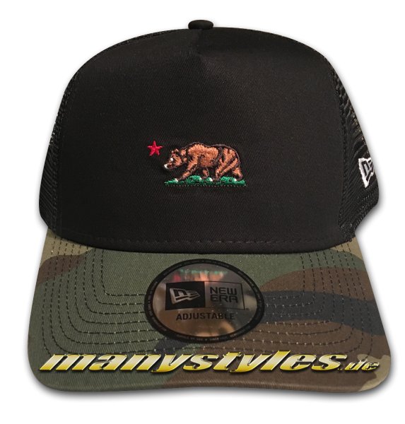 California Republic NE Camo Cali Bear Trucker AF Adjustable Cap Black Woodland Camouflage von New Era