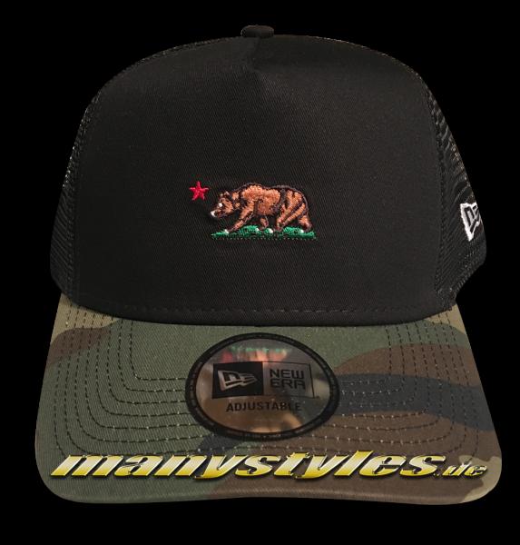 California Republic NE Camo Cali Bear Trucker AF Adjustable Cap Black Woodland Camouflage von New Era