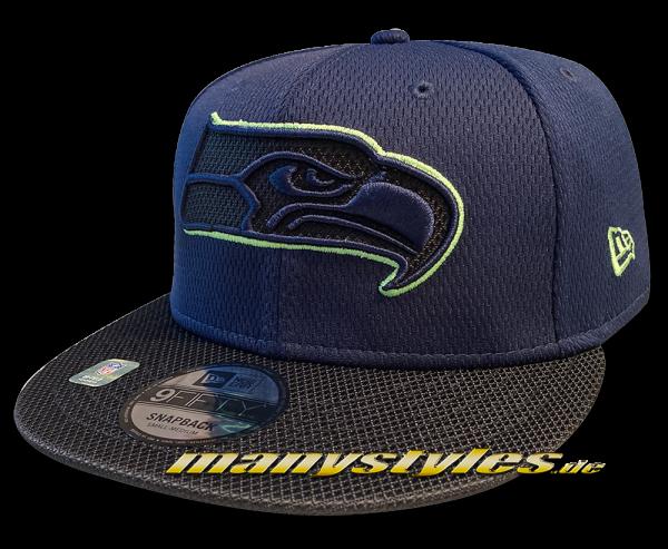 Seattle Seahawks 9FIFTY NFL21 SL RD 950 Snapback Cap Navy Lime OTC Sideline 2021 von New Era