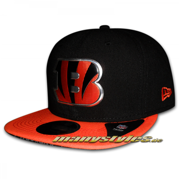 Cincinatti Bengals 9FIFTY NFL Sideline Snapback Black Team Color liquid logo