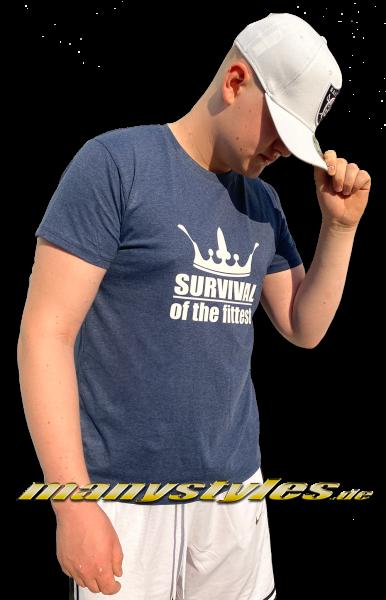 Survival of the Fittest Crown exclusive T-Shirt Heather Denim Bright White von Sol Front Backview Rückseite
