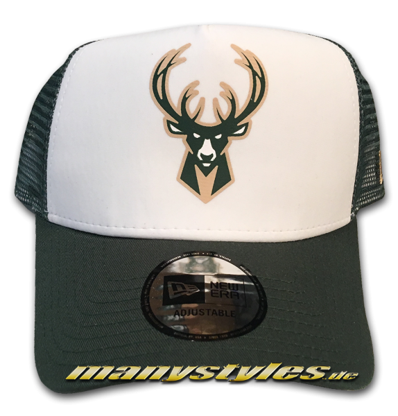 Milwaukee Bucks NBA Team Color Block Curved Visor Adjustable Mesh Trucker Snapback Cap Green OTC von New Era