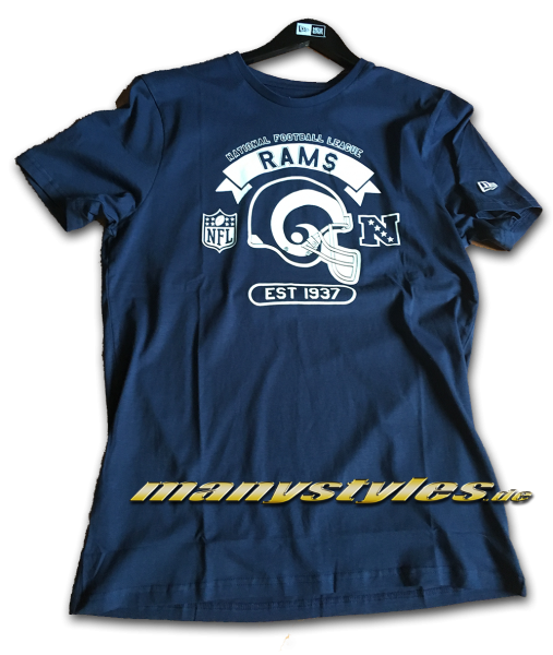 Los Angeles Rams NFL Graphic Helmet Tee T-Shirt OTC Official Team Color Navy White von New Era