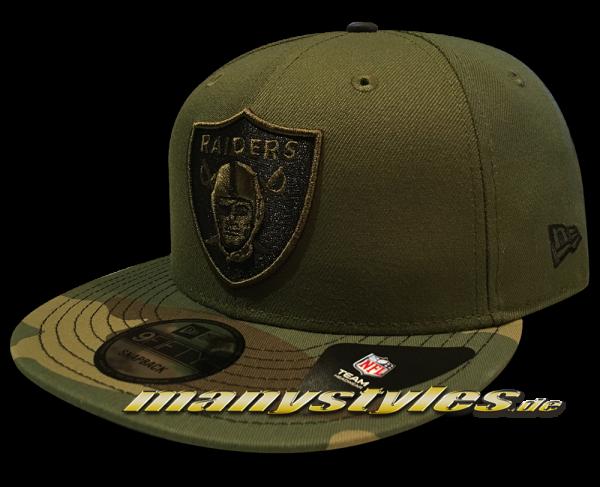 Las Vegas Raiders NFL 9FIFTY exclusive Snapback Cap Rifle Green Camo Woodland Camouflage Black von New Era Oakland Raiders