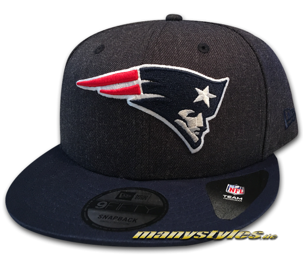 New England Patriots NFL 9FIFTY Heather Crown Snapback Cap Navy Charcoal Heather Grey OTC von New Era