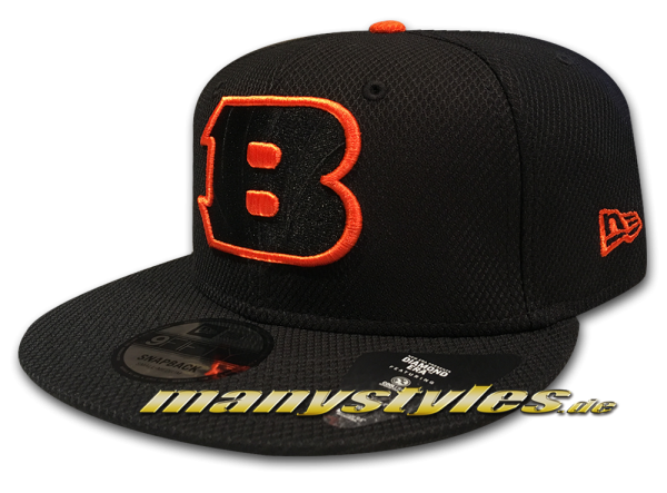 Cincinnati Bangals NFL Team Outline 9Fifty Diamond Era Snapback Cap black Burnt Orange OTC von New Era