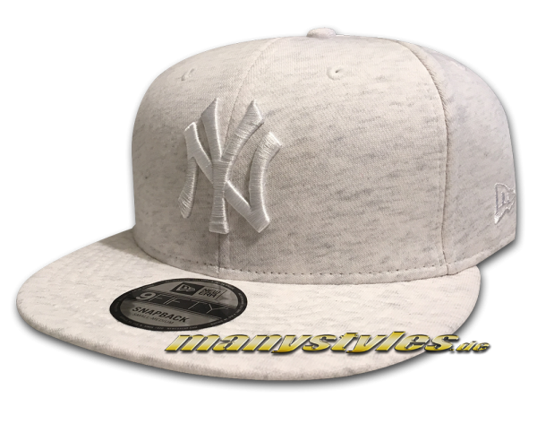 NY Yankees MLB 9FIFTY Snapback Cap Jersey Essential Ice Heather White von New Era
