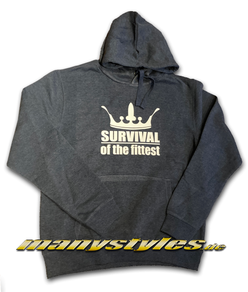 manystyles Survival of the Fittest Crown exclusive Hooded Sweatshirt mit Kapuze in Navy Heather Denim
