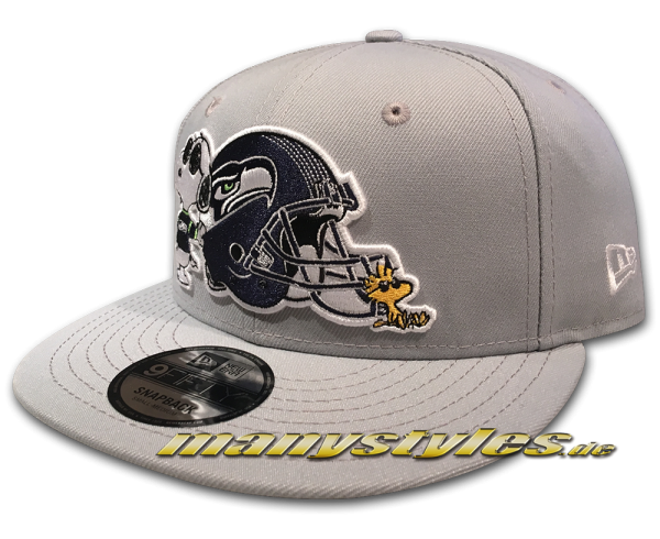 Seattle Seahawks 9FIFTY NFL Peanuts Cap 950 Snapback Cap Delphin Grey White von New Era